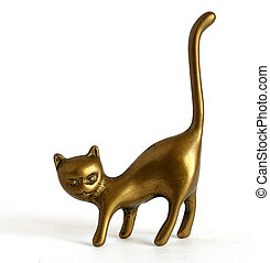 Statuette of the cat - Bronze statuette of the cat on white...