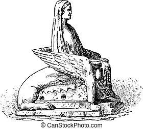 Statuette, vintage engraving.