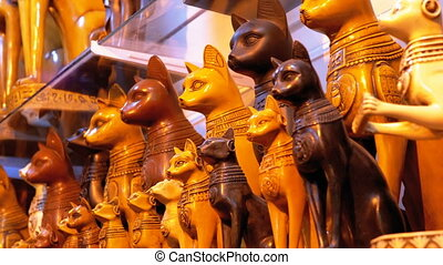 Statuettes of Egyptian Cats of Stone and other Products on...
