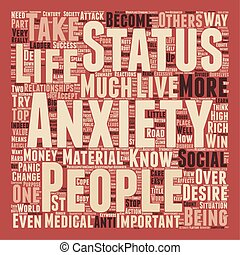 Status Anxiety text background wordcloud concept