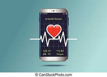 status, kardiogramm, smartphone, überwachung, modern