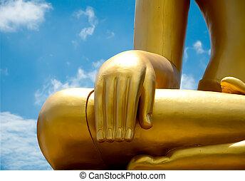 statut, Bouddha, main