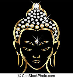 statut, bouddha, or