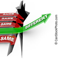 statut, différent, flèches, même, battements, vs, innovation...
