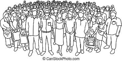 statut, différent, groupe, isolé, gens, griffonnage, social, lignes, croquis, illustration, jeune, vecteur, arrière-plan noir, dessiné, vieux, blanc, main