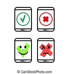statut, information, avis, smartphone, ok, app, vector., erreur