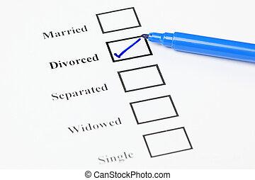 statut, list., chèque, divorcé, marital