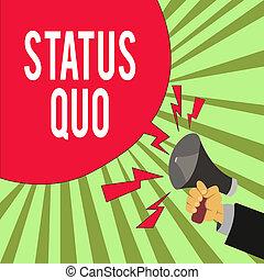 statut, ou, conceptuel, concernant, existant, analyse, vide, main, bubble., tenue, porte voix, business, politique, projection, quo., hu, parole, affaires, état, questions, social, écriture, photo, texte, mâle