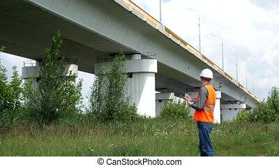 statut, pont, écrit, travers, rivière, ingénierie, dossier, inspecteur, chèques
