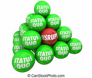 statut, pyramide, innover, changement, vs, illustration, perturber, quo, 3d