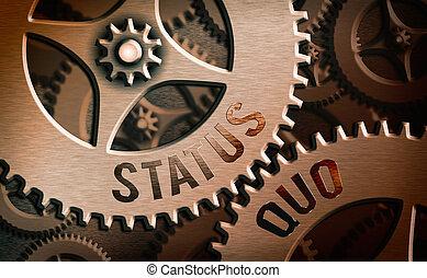 statut, quo., signe, ou, conceptuel, concernant, existant, photo, affaires, état, issues., politique, projection, texte, social