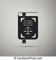 statuut, pictogram, plat, justitie, schalen, vrijstaand, illustratie, grijze , achtergrond., vector, wet boek, design.
