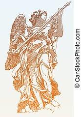 staty, ängel, digital, original, teckning, marmor, skiss