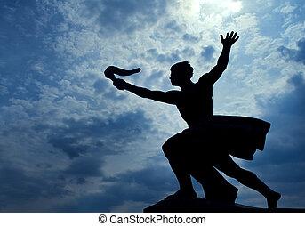 staty, av, torch-bearer, på, gellert, kulle, budapest