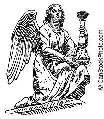 staty, skiss, marmor, ängel, teckning