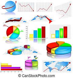 statystyczny, wykres, ilustracje