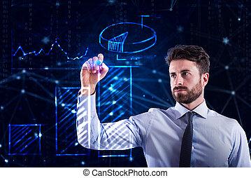 statystyka, sieć, laptop, programista, fabryka, człowiek
