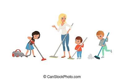 staubsaugen, boden, abbildung, reizend, karikatur, hausarbeit, satz, portion, vektor, mutti, kinder, kinder, putzen, ihr