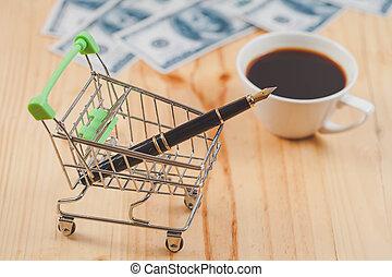 stav připojení, business pojem, plnicí pero, do, nakupování, cart.