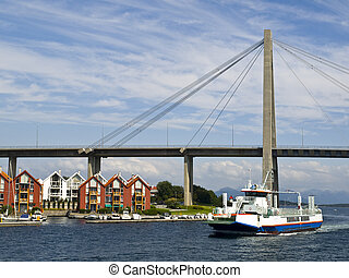 Stavanger City Bridge (Norwegian: Stavanger bybru) is a cable-stayed bridge with one tower that crosses Str?msteinsundet from the centre of Stavanger, Norway to Grasholmen and S?lyst in the borough Hundv?g. The bridge is 1067 metres long, the main span is 185 metres, and the maximum clearance to the...