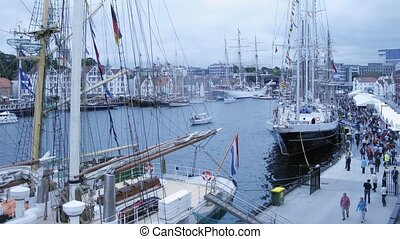 Ship traffic in port before Tall Ship Regatta - STAVANGER,...