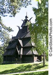 Stave Church - Stavkirke (stave church) located at the folk...
