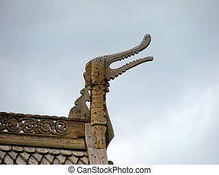 Stave church detail. Lom, Norway