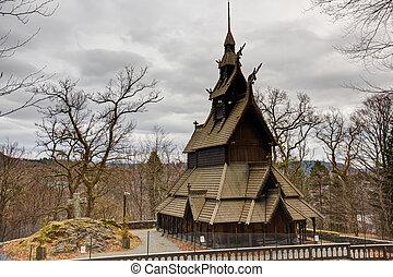 Stave church - A picture of a stave church in Bergen, fana.