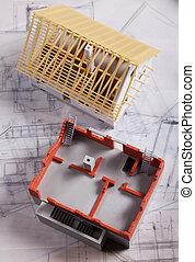 stavebnictví plánování, a, domů