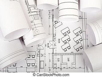 stavebnictví plánování, a, závitky, o, blueprints