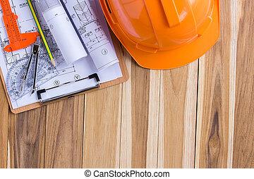stavebnictví plánování, a, závitky, o, blueprints, s, brašna na nářadí