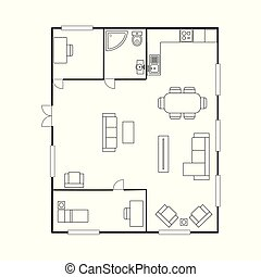 stavebnictví plánování, s, furniture., ubytovat se, plán prostorového uspořádání