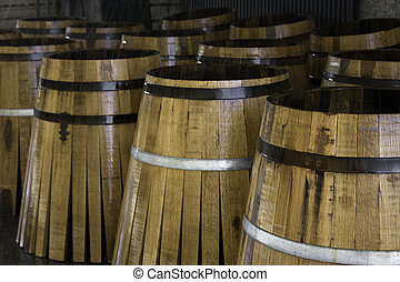 Staves in barrels manufacturing, part of a 50 photo...
