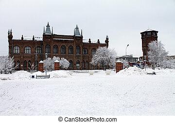 stavitelský, dějinný building, do, ta, winter.