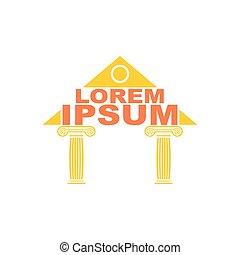 stavitelský, logo., řečtina, chrám, columns., vektor, logo., ta, antický, budova, symbol