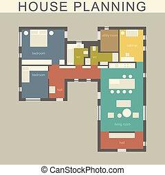 stavitelský, ubytovat se, plan.