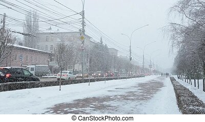 Stavropol, Russia - February 2018: Stavropol central streets in winter.