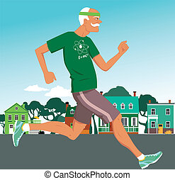 Stay active at any age - Active senior man jogging down the...