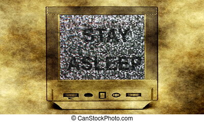 Stay asleep concept on vintage tv set