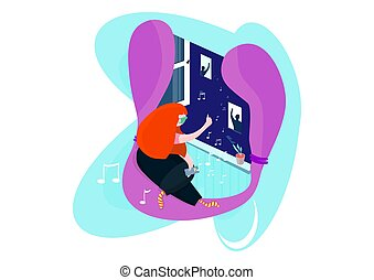 Stay at home. A woman in a mask sitting by the window and listening to music. Flat vector illustration.