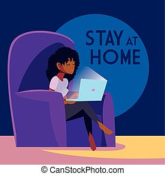 stay at home awareness social media campaign and coronavirus prevention: woman connecting with her laptop vector illustration design