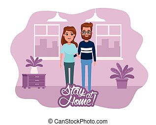 stay at home campaign with couple vector illustration design
