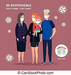 stay at home campaign with cute family using face mask vector illustration design