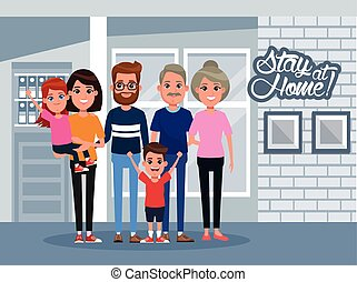 stay at home campaign with family members vector illustration design