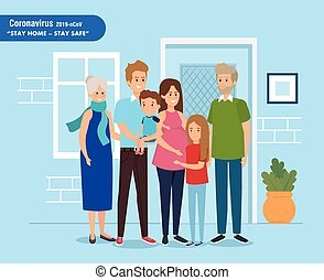 stay at home campaign with family vector illustration design