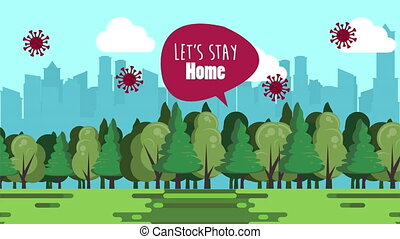 stay at home campaign with forest scene ,4k video animated