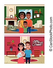 stay at home campaign with interracial families members vector illustration design