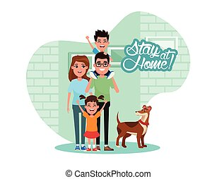 stay at home campaign with parents and kids vector illustration design