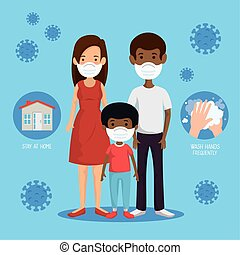stay at home campaign with parents and son vector illustration design
