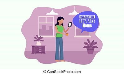 stay at home campaign with woman playing music in house ,4k video animated